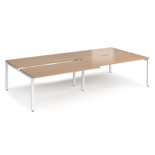 Adapt sliding top double back to back desks 3200mm x 1600mm - white frame and beech top