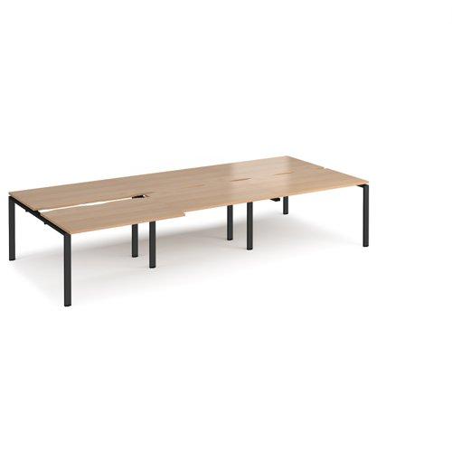 Adapt sliding top triple back to back desks 3600mm x 1600mm - black frame and beech top