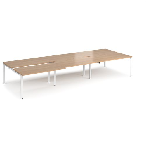 Adapt sliding top triple back to back desks 4200mm x 1600mm - white frame and beech top