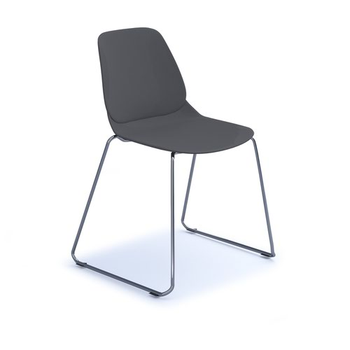Strut multi-purpose chair with chrome sled frame - grey