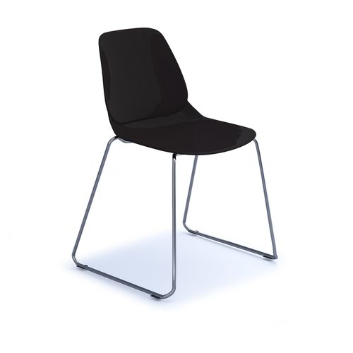 Strut multi-purpose chair with chrome sled frame - black