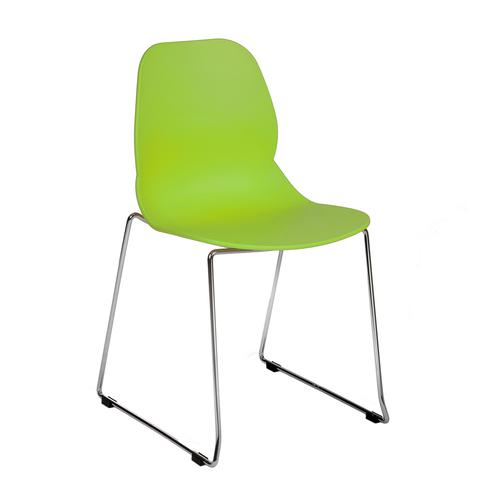 Strut multi-purpose chair with chrome sled frame - lime green