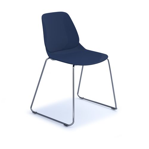 Strut multi-purpose chair with chrome sled frame - navy blue