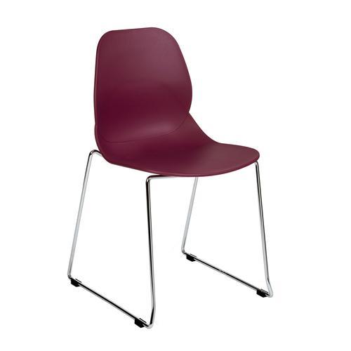 Strut multi-purpose chair with chrome sled frame - plum