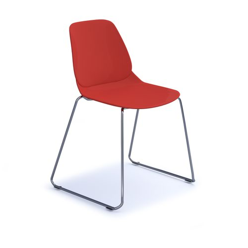 Strut multi-purpose chair with chrome sled frame - red