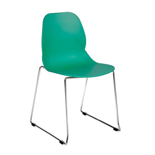 Strut multi-purpose chair with chrome sled frame - turquoise