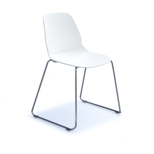 Strut multi-purpose chair with chrome sled frame - white