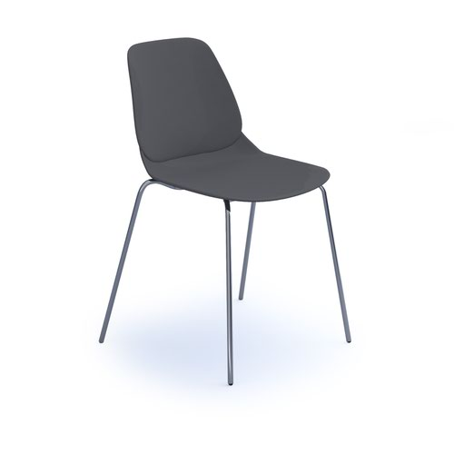 Strut multi-purpose chair with chrome 4 leg frame - grey