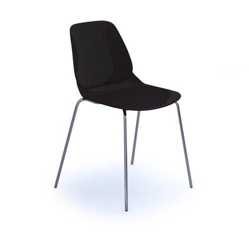 Strut multi-purpose chair with chrome 4 leg frame - black