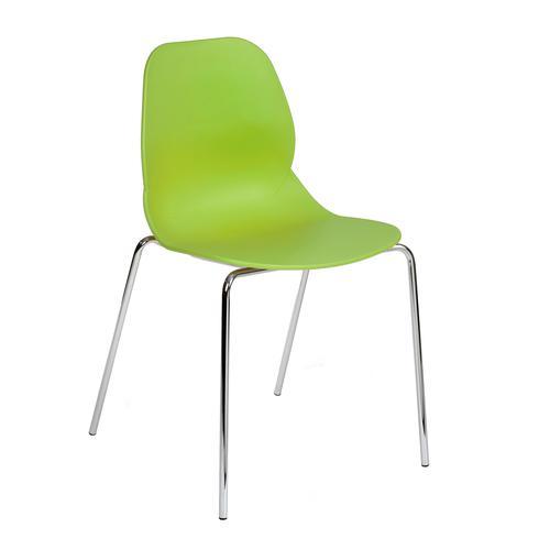 Strut multi-purpose chair with chrome 4 leg frame - lime green