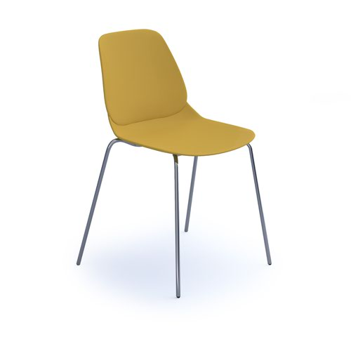 Strut multi-purpose chair with chrome 4 leg frame - mustard