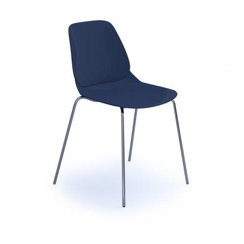 Strut multi-purpose chair with chrome 4 leg frame - navy blue