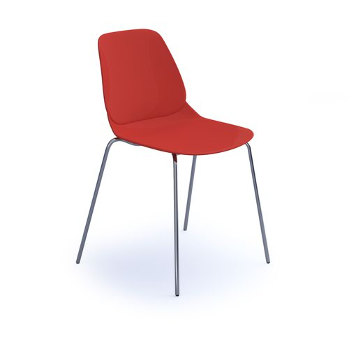 Strut multi-purpose chair with chrome 4 leg frame - red