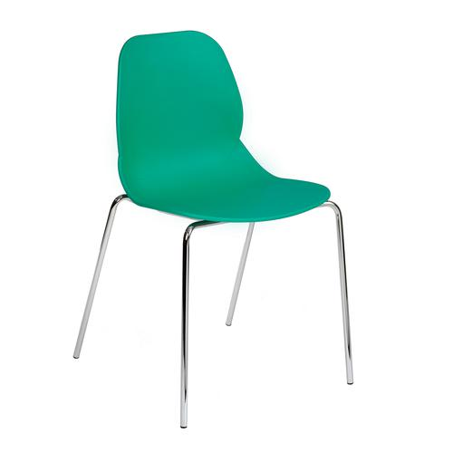 Strut multi-purpose chair with chrome 4 leg frame - turquoise