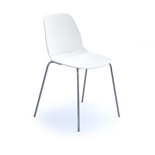 Strut multi-purpose chair with chrome 4 leg frame - white