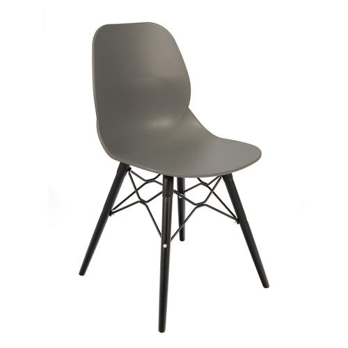 Strut multi-purpose chair with black oak 4 leg frame and black steel detail - grey