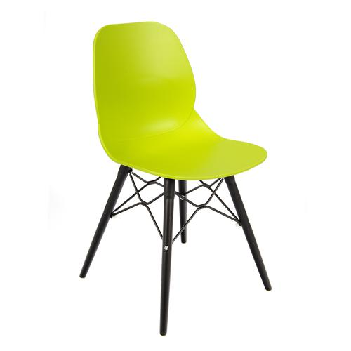 Strut multi-purpose chair with black oak 4 leg frame and black steel detail - lime green