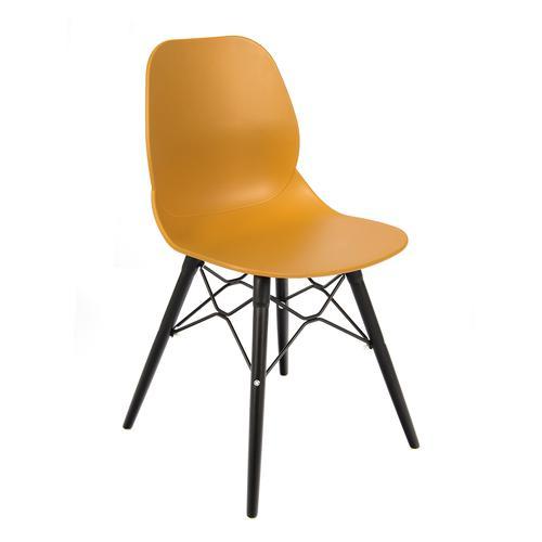 Strut multi-purpose chair with black oak 4 leg frame and black steel detail - mustard