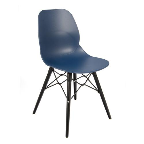Strut multi-purpose chair with black oak 4 leg frame and black steel detail - navy blue