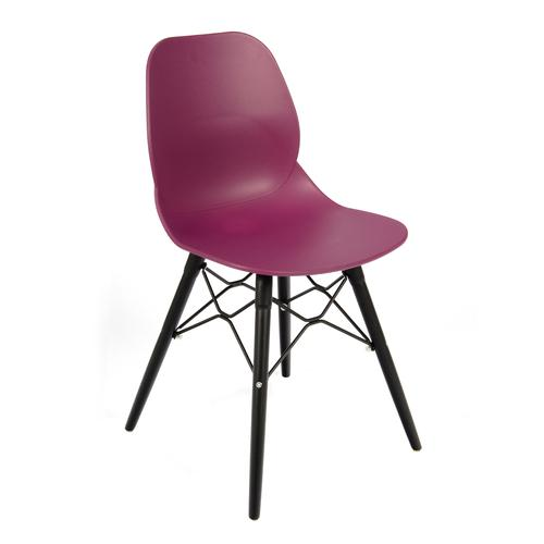 Strut multi-purpose chair with black oak 4 leg frame and black steel detail - plum