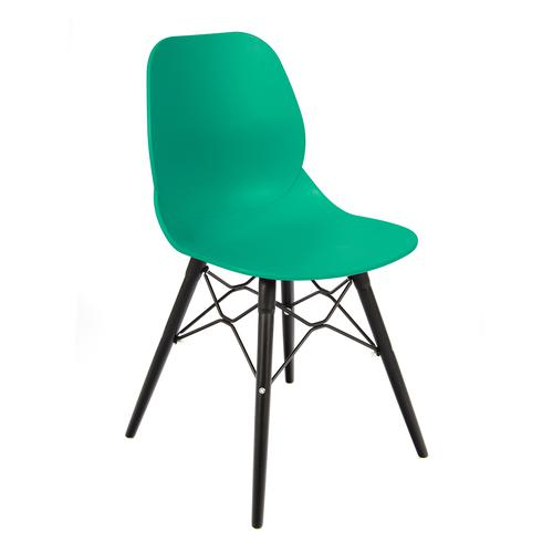Strut multi-purpose chair with black oak 4 leg frame and black steel detail - turquoise