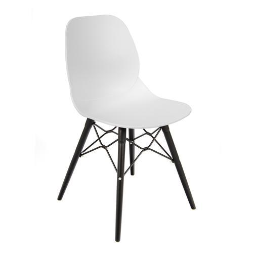 Strut multi-purpose chair with black oak 4 leg frame and black steel detail - white
