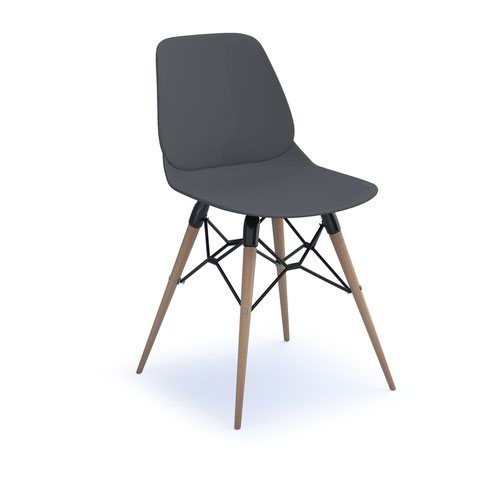 Strut multi-purpose chair with natural oak 4 leg frame and black steel detail - grey