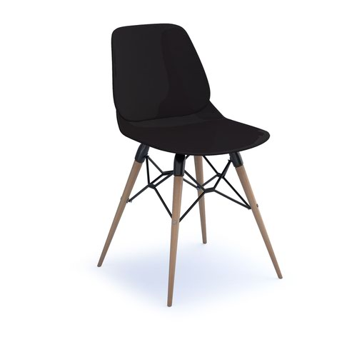 Strut multi-purpose chair with natural oak 4 leg frame and black steel detail - black