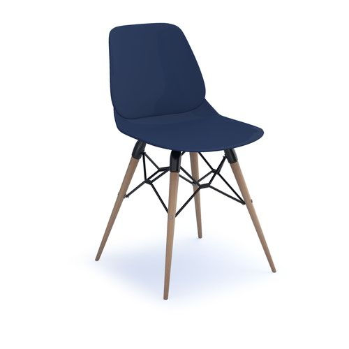 Strut multi-purpose chair with natural oak 4 leg frame and black steel detail - navy blue