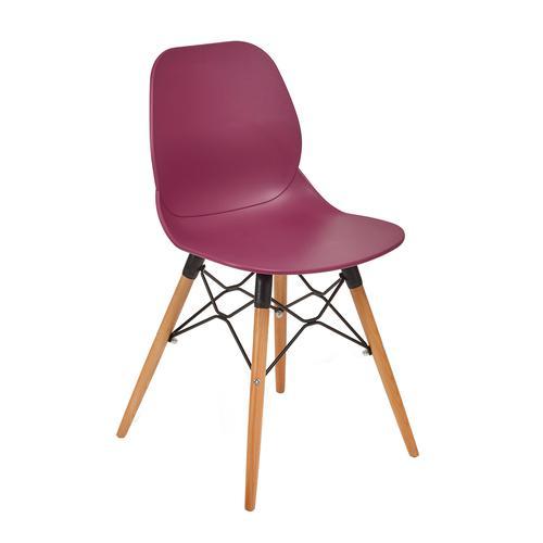 Strut multi-purpose chair with natural oak 4 leg frame and black steel detail - plum