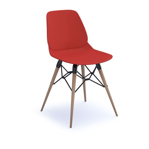 Strut multi-purpose chair with natural oak 4 leg frame and black steel detail - red