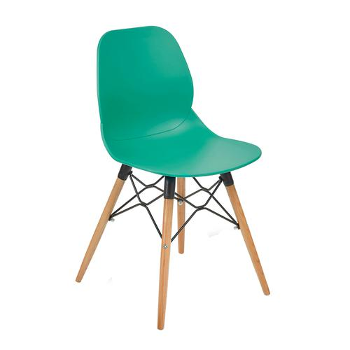 Strut multi-purpose chair with natural oak 4 leg frame and black steel detail - turquoise