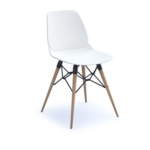 Strut multi-purpose chair with natural oak 4 leg frame and black steel detail - white