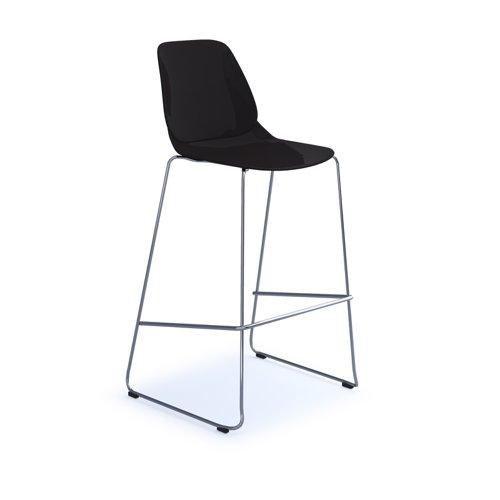 Strut multi-purpose stool with chrome sled frame - black