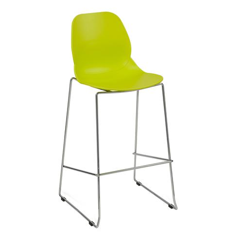 Strut multi-purpose stool with chrome sled frame - lime green