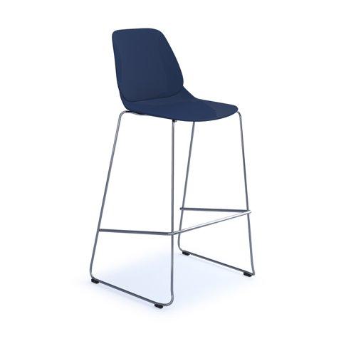 Strut multi-purpose stool with chrome sled frame - navy blue