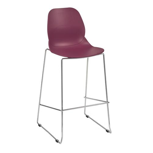 Strut multi-purpose stool with chrome sled frame - plum