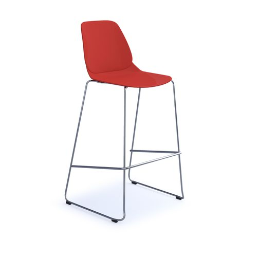 Strut multi-purpose stool with chrome sled frame - red