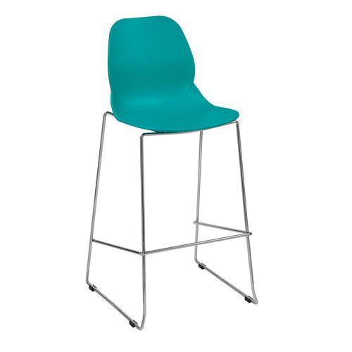 Strut multi-purpose stool with chrome sled frame - turquoise