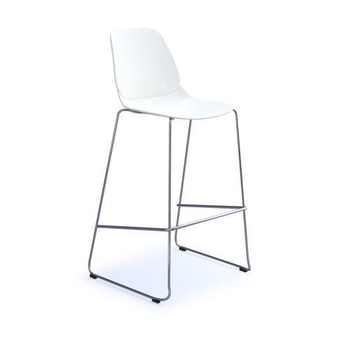 Strut multi-purpose stool with chrome sled frame - white