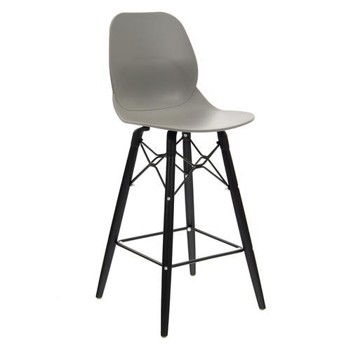 Strut multi-purpose stool with black oak 4 leg frame and black steel detail - grey