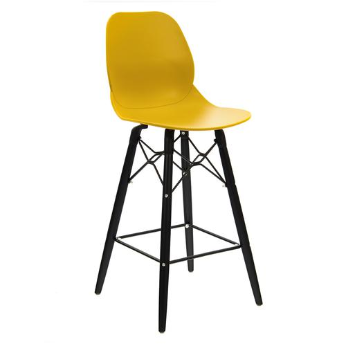 Strut multi-purpose stool with black oak 4 leg frame and black steel detail - mustard