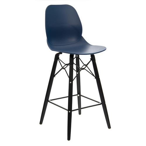 Strut multi-purpose stool with black oak 4 leg frame and black steel detail - navy blue
