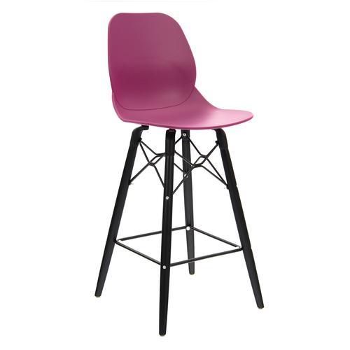 Strut multi-purpose stool with black oak 4 leg frame and black steel detail - plum