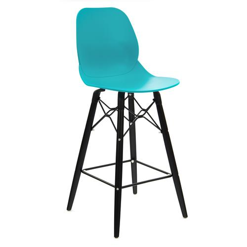 Strut multi-purpose stool with black oak 4 leg frame and black steel detail - turquoise