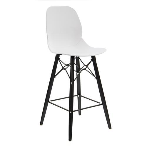 Strut multi-purpose stool with black oak 4 leg frame and black steel detail - white