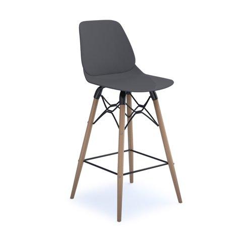 Strut multi-purpose stool with natural oak 4 leg frame and black steel detail - grey