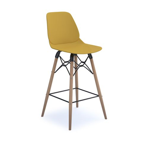 Strut multi-purpose stool with natural oak 4 leg frame and black steel detail - mustard
