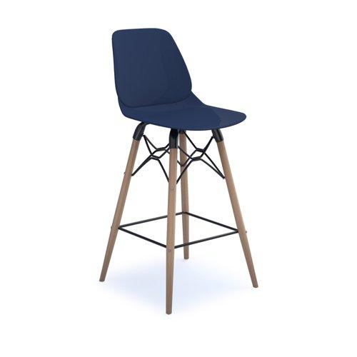 Strut multi-purpose stool with natural oak 4 leg frame and black steel detail - navy blue