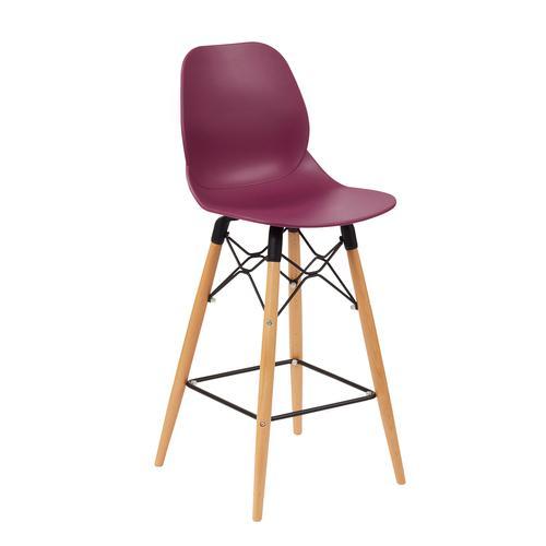 Strut multi-purpose stool with natural oak 4 leg frame and black steel detail - plum